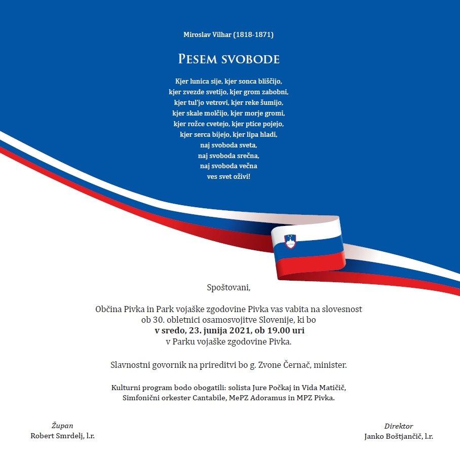 PESEM SVOBODE  Slovesnost ob 30. letnici osamosvojitve Slovenije